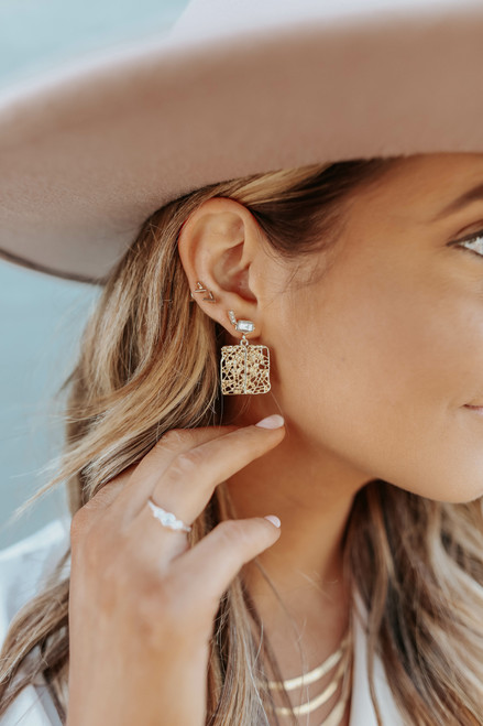 Gala Ready Square Statement Earrings