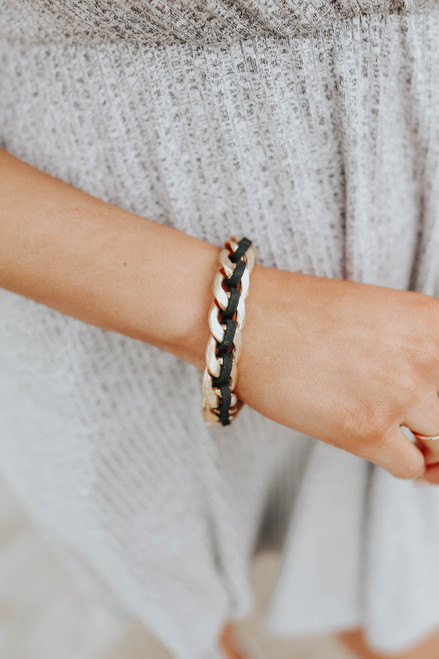 Braided Suede Black Chain Link Bracelet