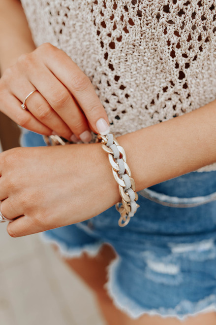 Braided Suede Grey Chain Link Bracelet