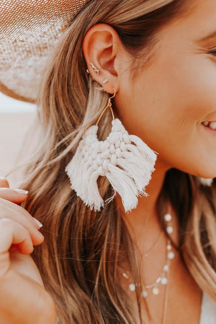 Marissa Macrame Natural Fringe Earrings