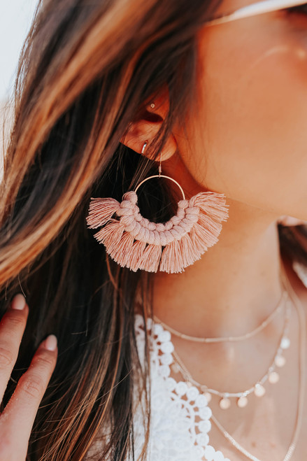 Vienna Macrame Blush Hoop Earrings