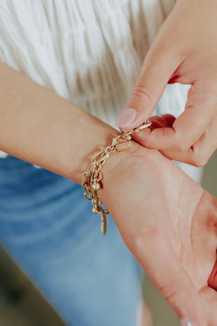 Chain Link Disk Charm Bracelet