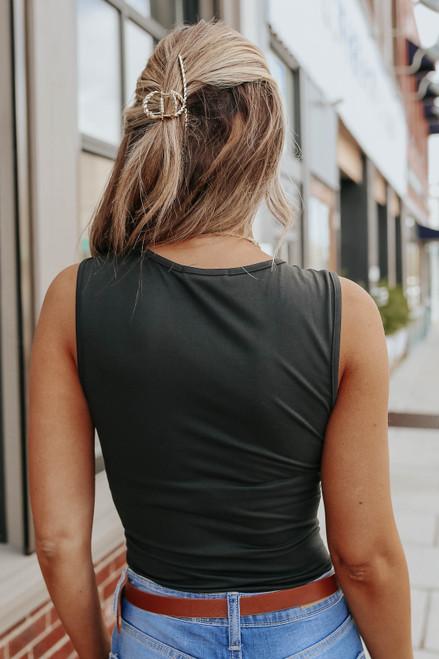 Bayside V-Neck Black Bodysuit