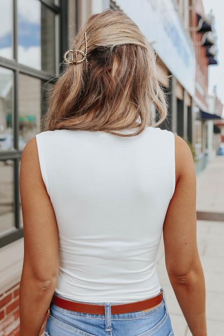 Bayside V-Neck White Bodysuit