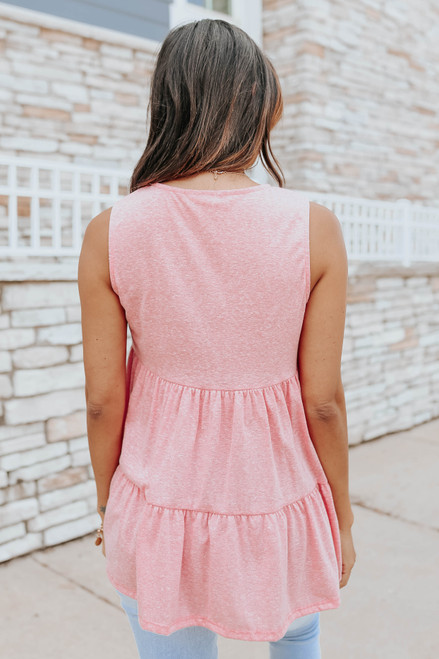 V-Neck Sleeveless Coral Empire Top