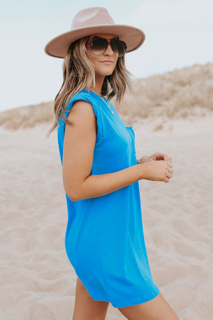 Cuffed Cap Sleeve Blue Pocket Dress