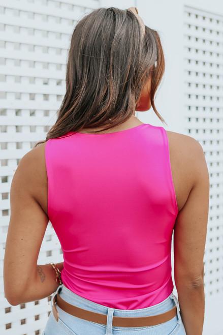 High Neck Sleeveless Fuchsia Bodysuit