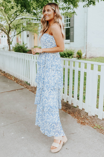 Forget Me Not Strapless Tiered Maxi Dress