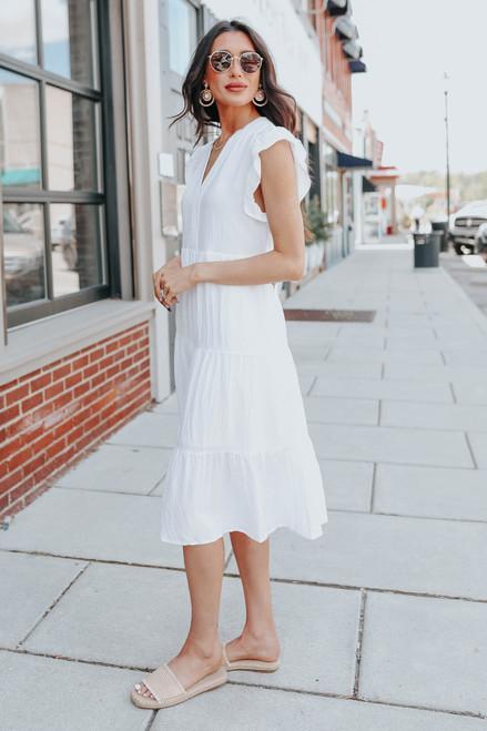 Cap Sleeve Tiered White Midi Dress