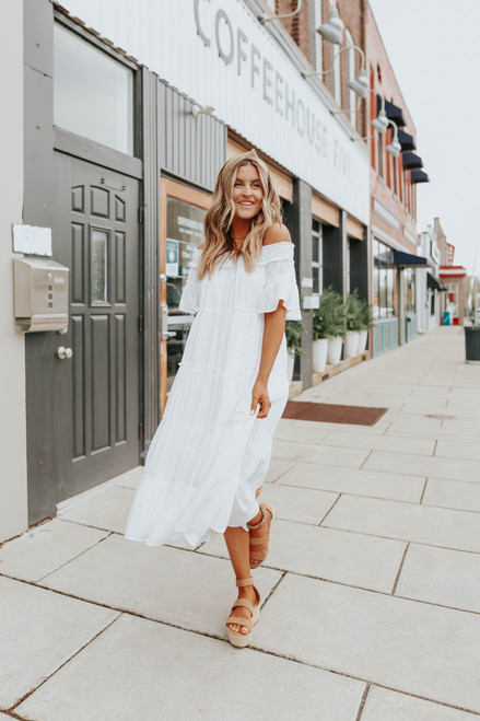 Off the Shoulder White Tiered Midi Dress