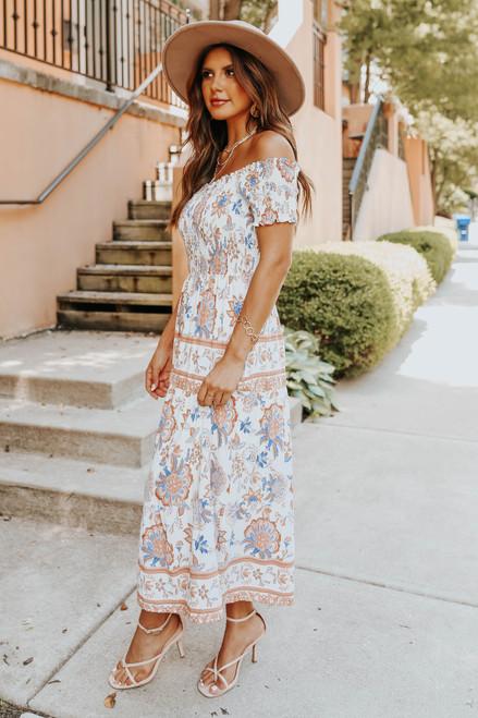 Off the Shoulder Natural Floral Midi Dress