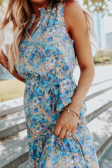 V-Neck Tie Waist Blue Floral Midi Dress