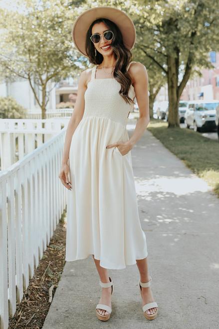 Smocked Strappy Back Cream Midi Dress