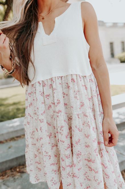 V-Neck Contrast Floral Babydoll Dress