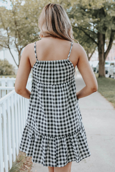 Sloane Black Gingham Babydoll Dress