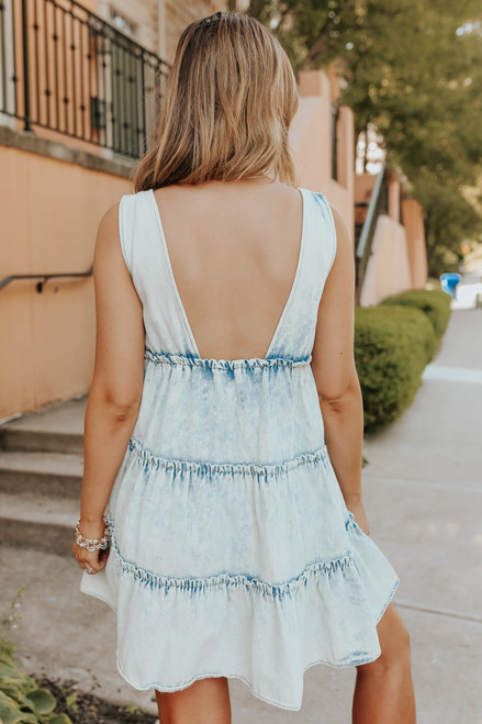 V-Neck Vintage Denim Tiered Dress