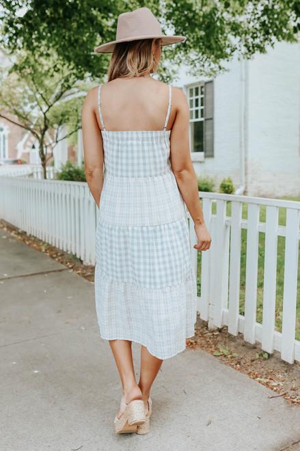 Winnie Mixed Grey Gingham Tiered Midi Dress