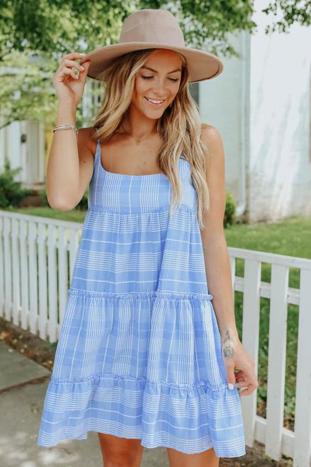 Covington Blue Plaid Tiered Dress