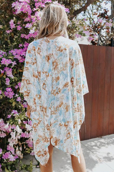 Chasing Waves Watercolor Printed Kimono