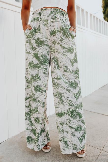Smocked Waist Green Palm Pants