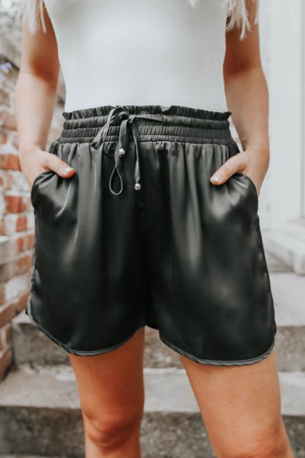 Drawstring Curved Hem Black Satin Shorts