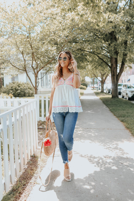 Button Down Neon Embroidered White Top