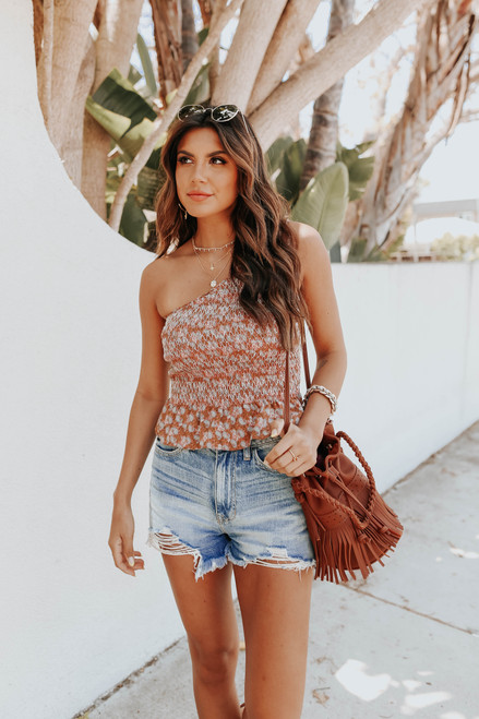 One Shoulder Smocked Terracotta Paisley Top