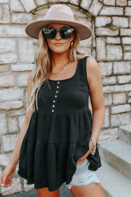 Button Detail Black Tiered Babydoll Tank