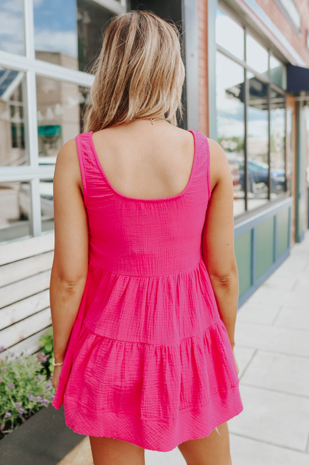 Button Detail Hot Pink Tiered Babydoll Tank