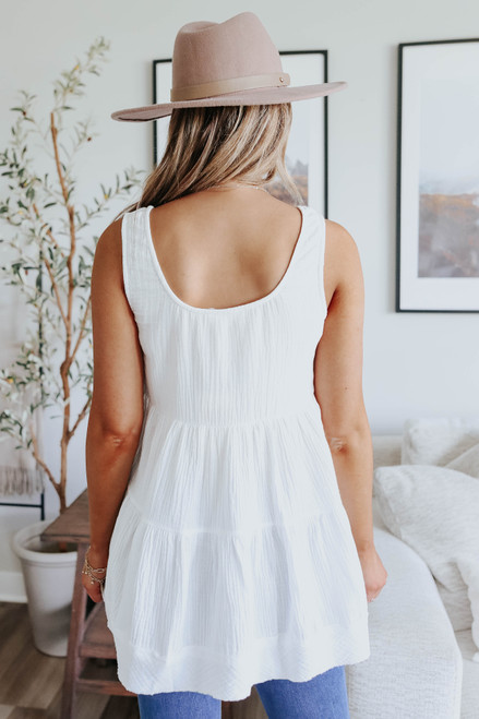 Button Detail White Tiered Babydoll Tank