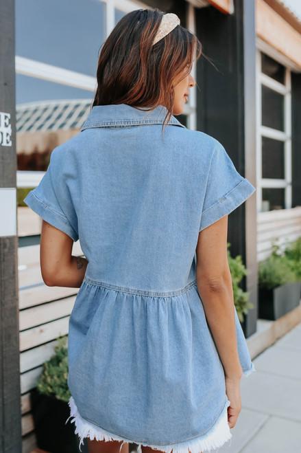 Short Sleeve Denim Peplum Shirt