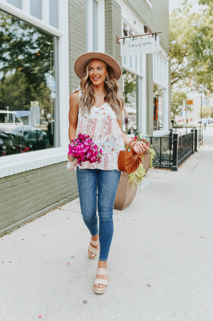 Mixed Floral Print Tiered Top