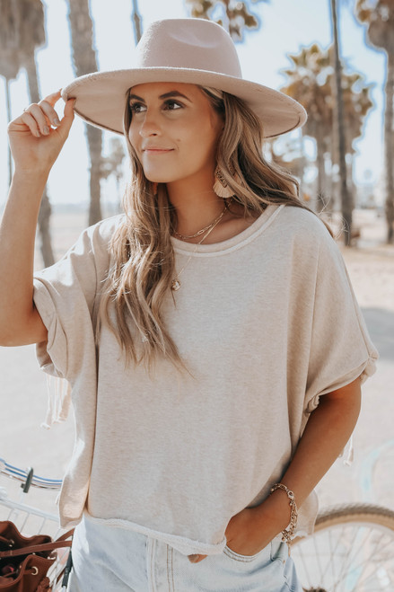Fringe Back Oatmeal Terry Pullover