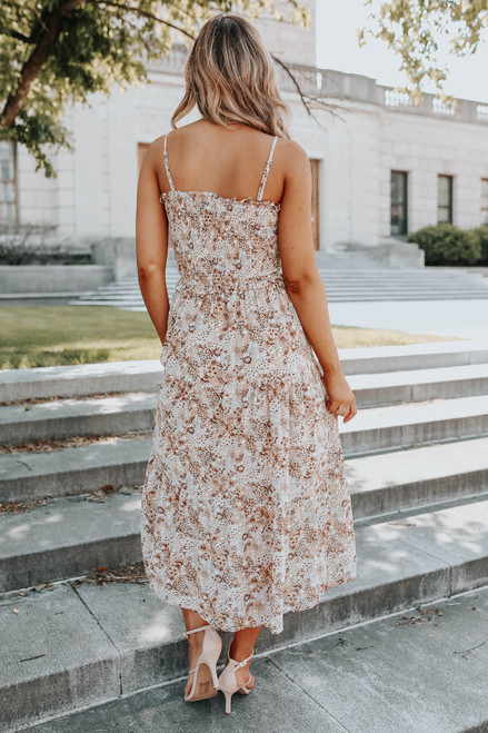 Smocked Natural Floral Tiered Midi Dress