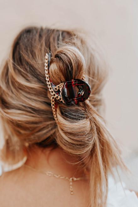Chain Link Tortoise Hair Clip Set