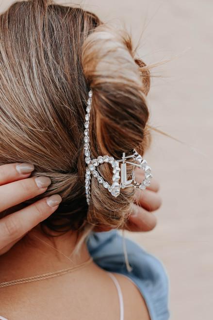 Rhinestone Silver Hair Clip Set
