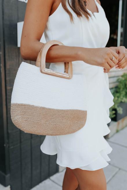 Wooden Handle Colorblock Woven Handbag