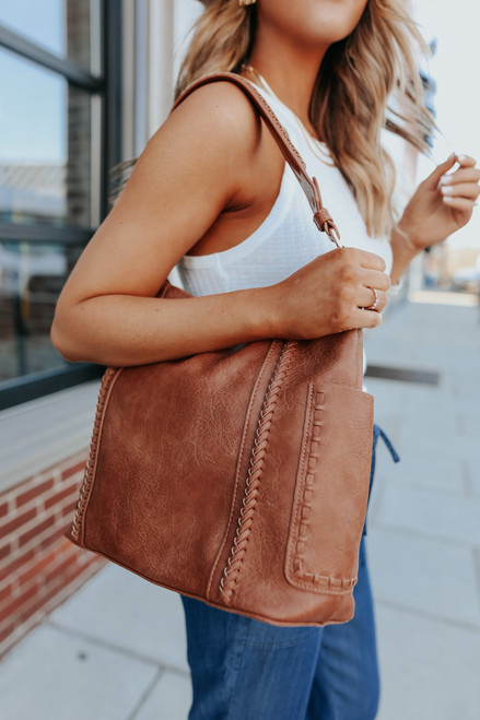 Faux Leather Stitch Detail Hobo Bag