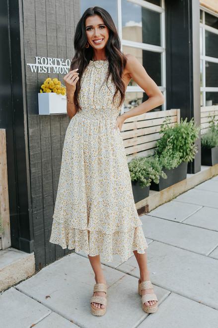 Halter Yellow Floral Tiered Midi Dress