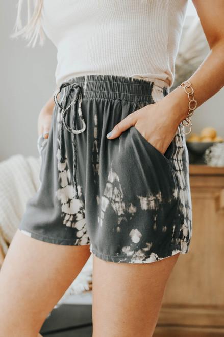 Phoebe Tie Dye Charcoal Shorts
