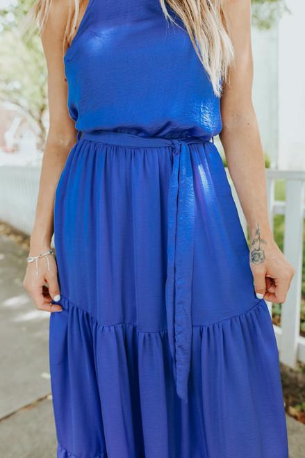 Halter Royal Blue Tiered Satin Maxi