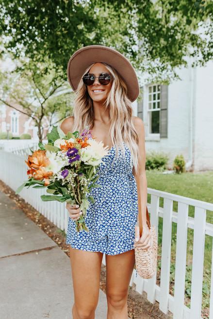 Surplice Royal Blue Ditsy Floral Romper