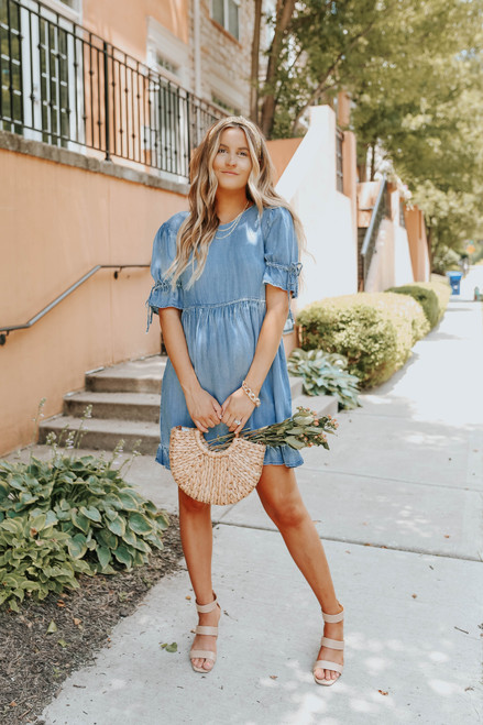 Short Sleeve Ruffle Chambray Babydoll Dress