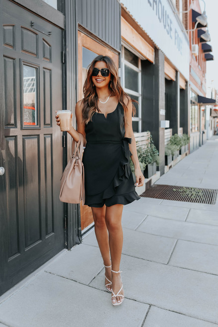 Perfect Night Faux Wrap Black Dress