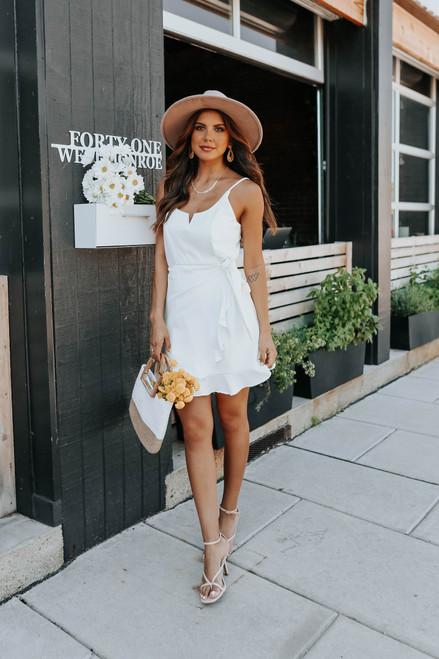 Perfect Night Faux Wrap White Dress