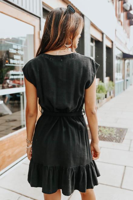 Drop Sleeve Tie Waist Washed Black Dress