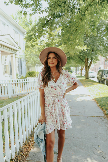 Puff Sleeve Faux Wrap Floral Dress