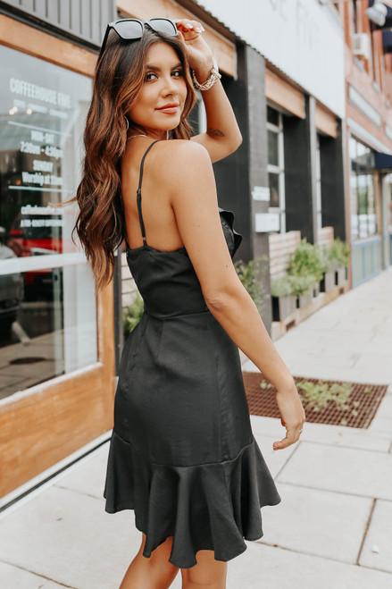 Ruffle Detail Faux Wrap Black Satin Dress