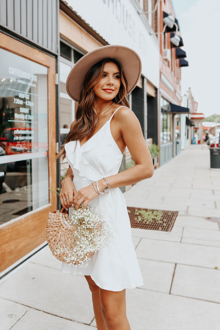 Ruffle Detail Faux Wrap White Satin Dress