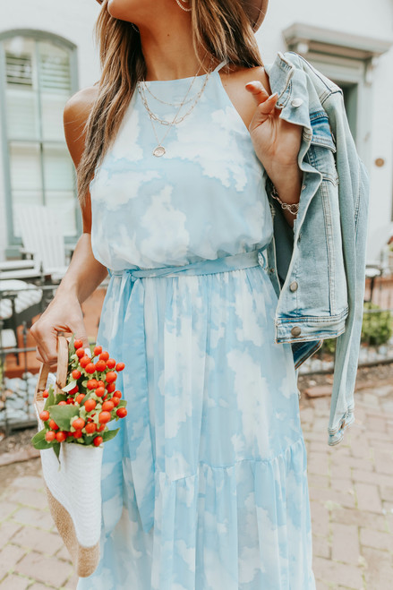 Above the Clouds Halter Watercolor Tiered Maxi